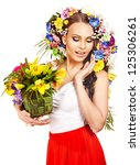 happy woman with flower.... | Shutterstock . vector #125306261