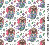 seamless pattern with dog pug... | Shutterstock .eps vector #1253072761