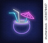 tropical cocktail neon sign.... | Shutterstock .eps vector #1253078437