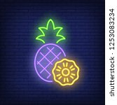 pineapple neon sign. summer and ... | Shutterstock .eps vector #1253083234