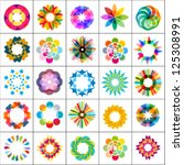 set of colorful flowers  design ... | Shutterstock .eps vector #125308991