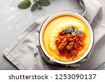 typical polenta of lombardy... | Shutterstock . vector #1253090137