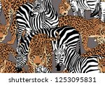 seamless pattern with a... | Shutterstock .eps vector #1253095831