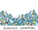 plastic trash. ecology and... | Shutterstock .eps vector #1253099584