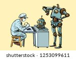 the robot came to repair the... | Shutterstock .eps vector #1253099611