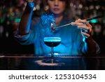 bartender girl adding to a... | Shutterstock . vector #1253104534