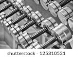 a rack of silver colored... | Shutterstock . vector #125310521