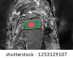 flag of bangladesh on soldiers... | Shutterstock . vector #1253129107