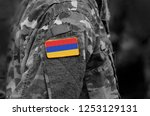 flag of armenia on soldiers arm.... | Shutterstock . vector #1253129131