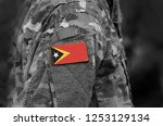 flag of east timor on soldiers... | Shutterstock . vector #1253129134