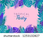 pink tropical party summer... | Shutterstock .eps vector #1253132827