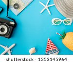 top view travel concept with... | Shutterstock . vector #1253145964