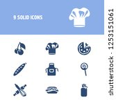 food icon set and apron with...