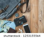 top view travel concept with... | Shutterstock . vector #1253155564