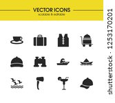 summer icons set with ship ...