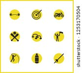 activity icons set with stick...