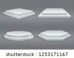 white podiums. round and square ... | Shutterstock .eps vector #1253171167