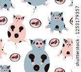 fat cute pig seamless pattern.... | Shutterstock .eps vector #1253179357