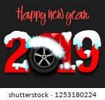 snowy new year numbers 2019 and ... | Shutterstock .eps vector #1253180224