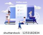 online exam vector concept.... | Shutterstock .eps vector #1253182834