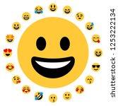 flat emoji set. 20 smileys.... | Shutterstock .eps vector #1253222134