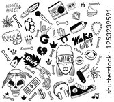set of rap music icons. black... | Shutterstock .eps vector #1253239591