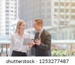 business discuss about work and ... | Shutterstock . vector #1253277487
