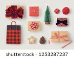 christmas gift boxes on white... | Shutterstock . vector #1253287237