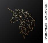 golden polygonal unicorn... | Shutterstock .eps vector #1253299231
