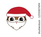 vector cute christmas owl with... | Shutterstock .eps vector #1253307694