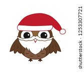 vector cute christmas owl with... | Shutterstock .eps vector #1253307721