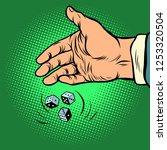 hand throws dice. comic cartoon ... | Shutterstock .eps vector #1253320504