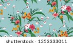 seamless floral pattern in... | Shutterstock .eps vector #1253333011