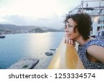 cruise ship vacation woman... | Shutterstock . vector #1253334574