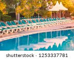 hotel in turkey with pool in... | Shutterstock . vector #1253337781