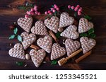 gingerbread hearts with spices  ... | Shutterstock . vector #1253345521
