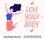 love your body card  poster.... | Shutterstock .eps vector #1253353201