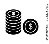 coins glyph black icon | Shutterstock .eps vector #1253356417