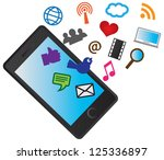 mobile cellular phone with...   Shutterstock .eps vector #125336897