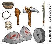 set of primitive cave of... | Shutterstock .eps vector #1253377507