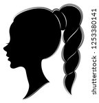 silhouette profile of a cute... | Shutterstock .eps vector #1253380141