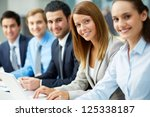 business people sitting in a... | Shutterstock . vector #125338187