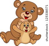 mother and baby bear cartoon | Shutterstock .eps vector #125338571