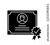 certificate glyph icon. diploma.... | Shutterstock .eps vector #1253390851