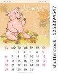 calendar for october 2019  year ... | Shutterstock .eps vector #1253394547