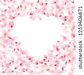 pink peach flower flying petals ... | Shutterstock .eps vector #1253406871