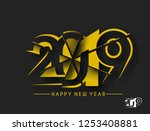 happy new year 2019 text design ... | Shutterstock .eps vector #1253408881