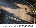 Aerial View Of A Cyclist Riding ...
