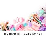 makeup products and accessory... | Shutterstock . vector #1253434414