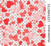 red hearts confetti background. ... | Shutterstock .eps vector #1253486731